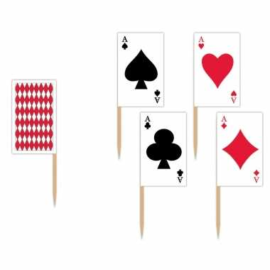 100x stuks casino thema cocktailprikkers