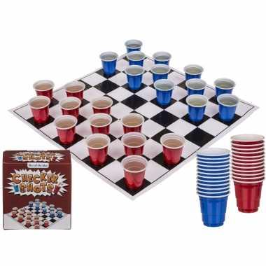 Drankspel/drinkspel shotjes dammen met 24 bekertjes